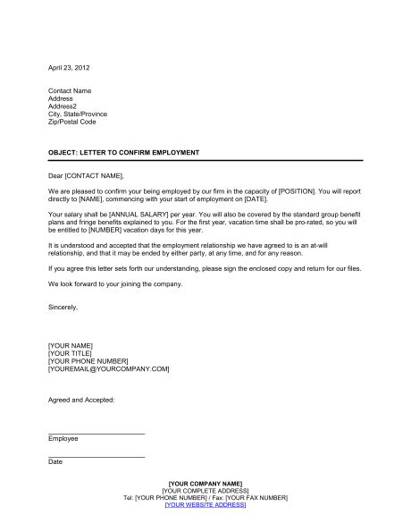 Letter Confirming Employment - Template & Sample Form | Biztree.com