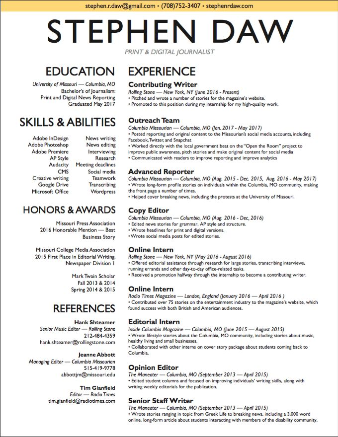 Contemporary Creative Journalism Resumes Ornament - Examples - digital journalist resume