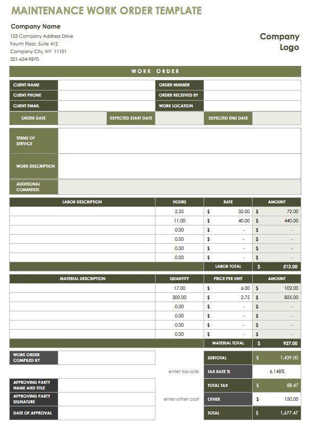 15 Free Work Order Templates | Smartsheet