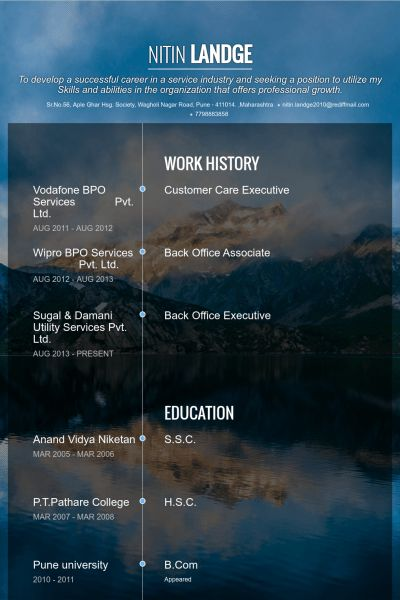 Customer Care Executive Resume samples - VisualCV resume samples ...