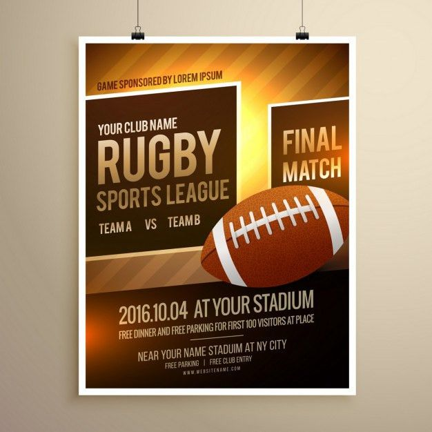 Rugby sports flyer template Vector | Free Download