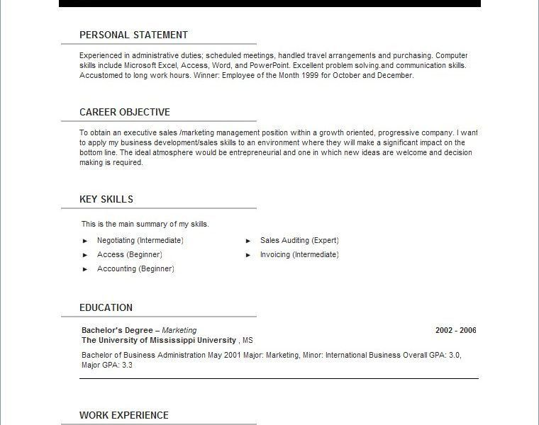 Picturesque Resume Templates For Openoffice Dazzling - Resume CV ...