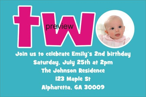 Personalized Party Invites News - 2nd Second Birthday Invitation ...