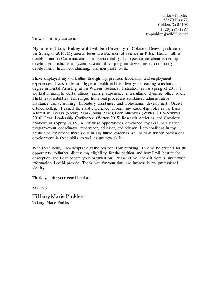 Tiffany Pinkley's Cover Letter