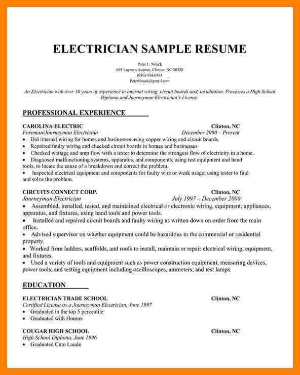 Journeyman Electrician Resume Examples [Template.billybullock.us ]