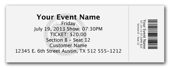 Elegant Admission Ticket Template Example with Event Name and ...