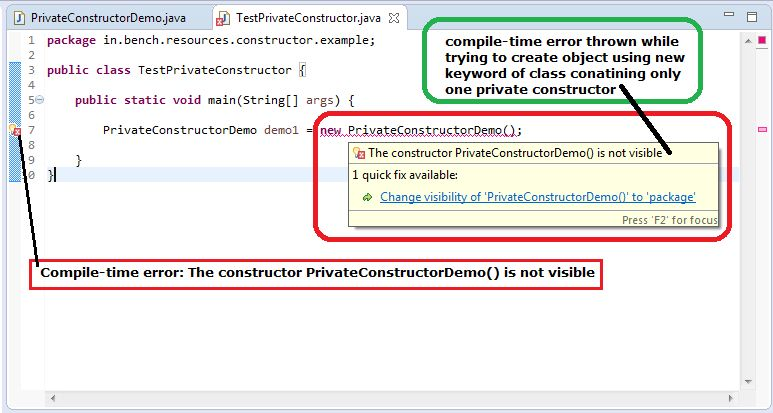 Java: Private Constructor - BenchResources.Net