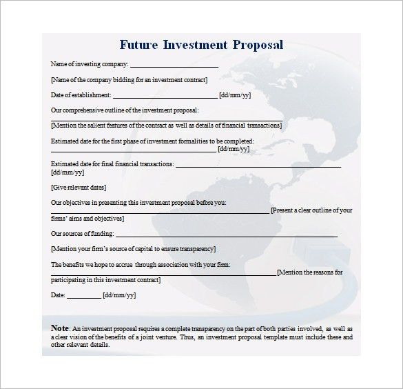 Investment Proposal Template – 11+ Free Sample, Example, Format ...