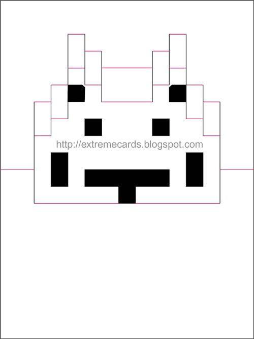 8 bit space invaders pop up card | POP-UP | Pinterest | Space ...