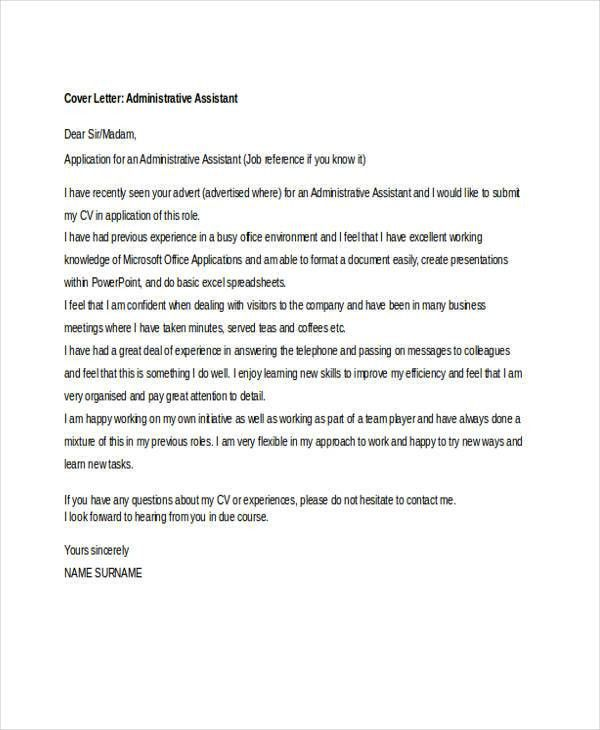8+ Job Application Letter For Administrative Assistant - Free ...