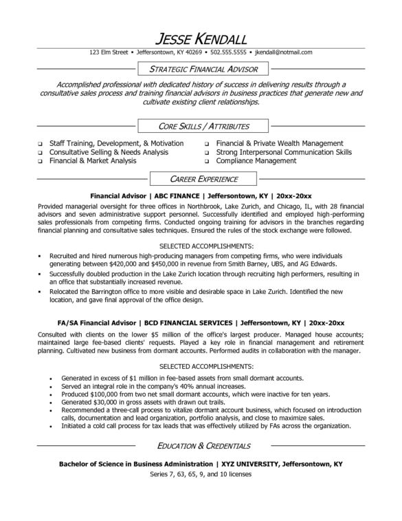Sample Strategic Financial Advisor and Core Skills plus Attributes ...