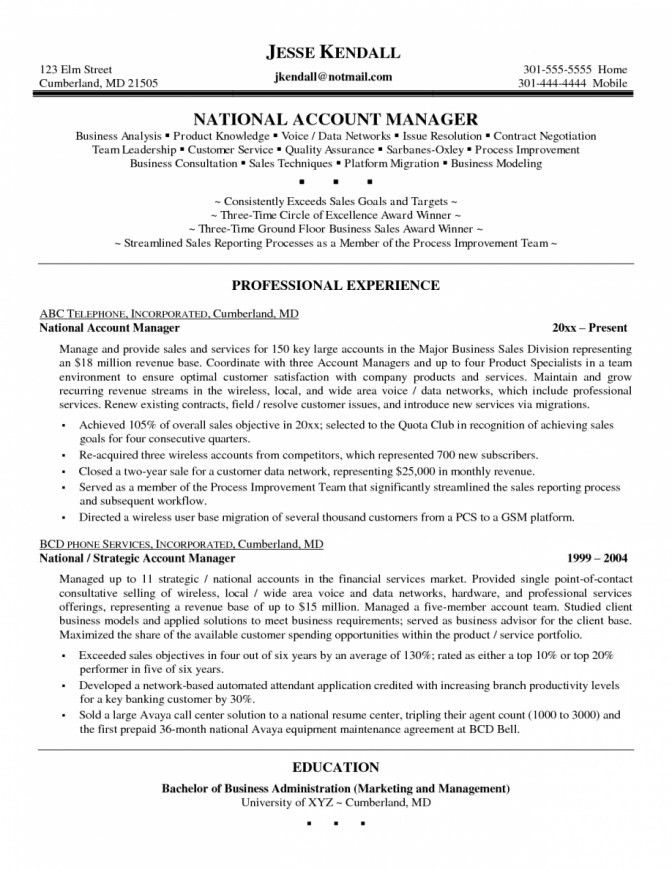 Account Manager Resume Objective | Template Design