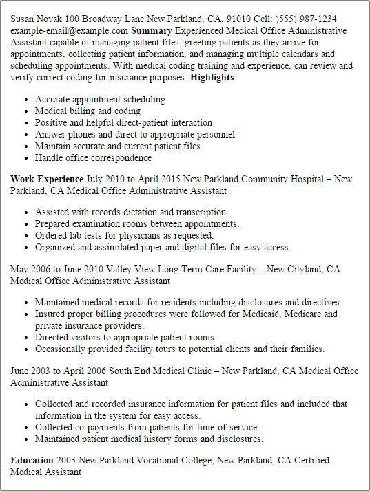 Medical Administrative Assistant Resume   Template Design