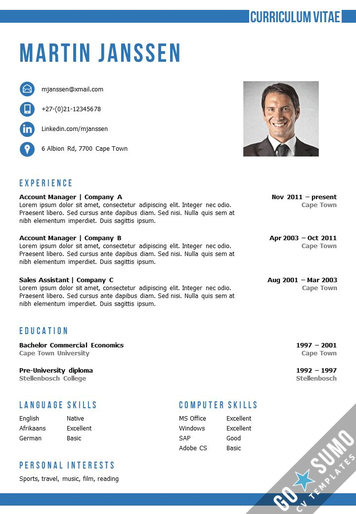 Resume / CV Template in MS Word. 2 color versions in 1, incl 2nd ...