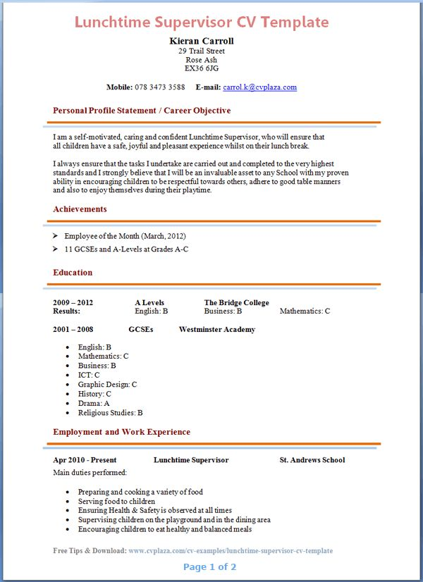 Lunchtime Supervisor CV Template + Tips and Download – CV Plaza