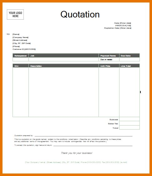 free quotation template word