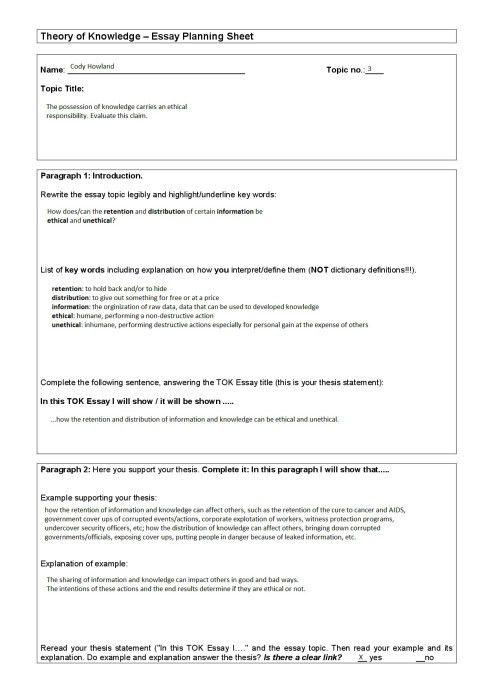 TOK DP2 Final Essay Planning Document | mrdigitalworld