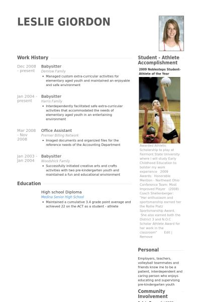 sample chronological resume template format babysitting cashier ...