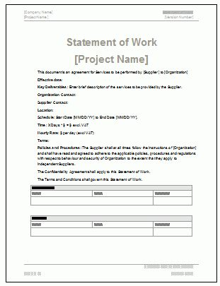 Statement of Work - MS Word & Excel Template