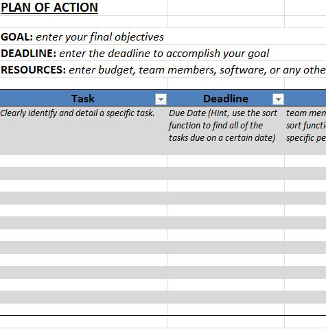 Action Plan Template in Excel - Business Templates