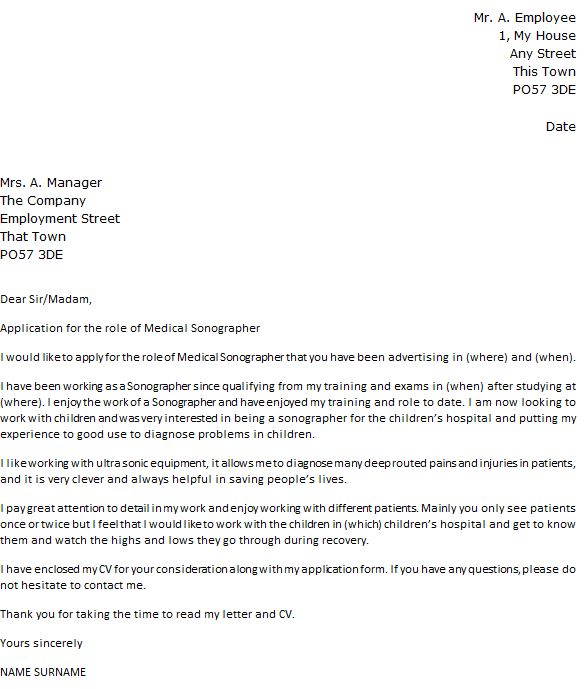 Medical Sonographer Cover Letter Example - icover.org.uk