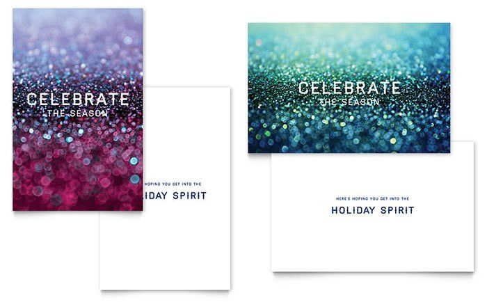Glittering Celebration Greeting Card Template - Word & Publisher