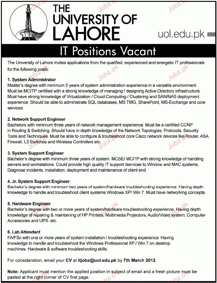 System Administrator, Network Support Engineer Required 2017 Jobs ...