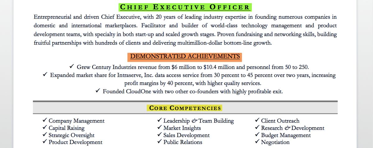 Executive Resume Examples & Writing Tips | CEO, CIO, CTO | Resume ...