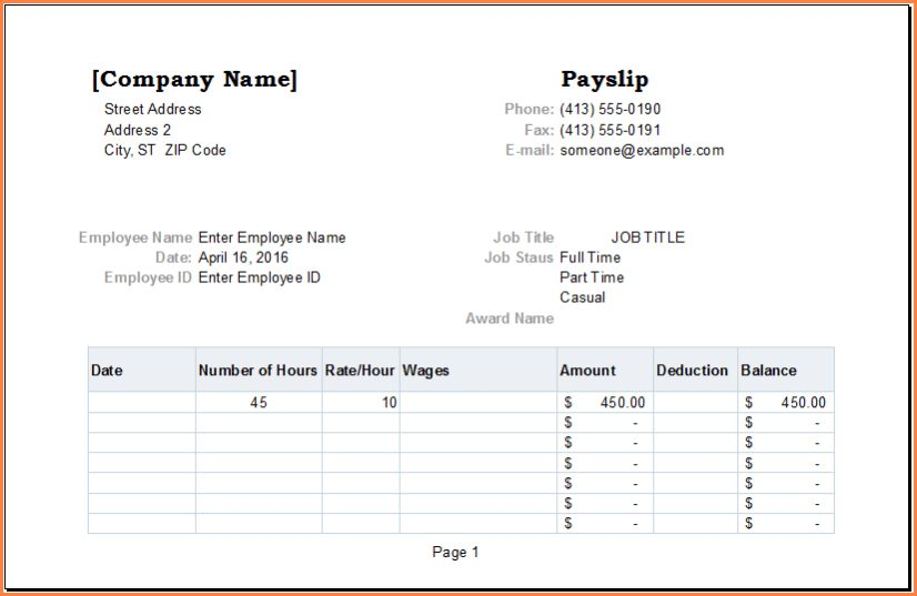 5+ free salary payslip template excel | Simple salary slip