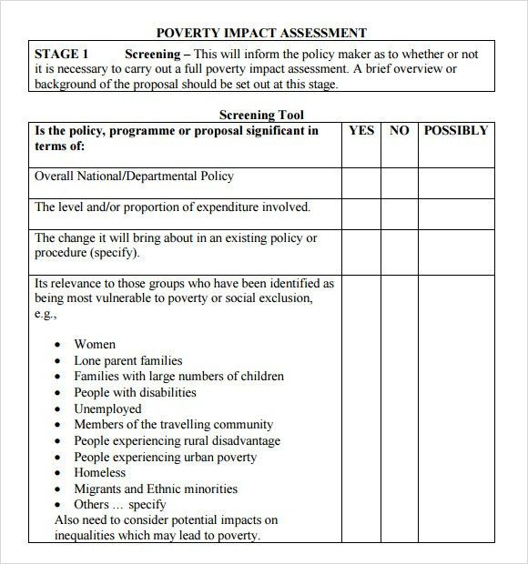 Sample Impact Assessment - 8+ Documents in PDF, Excel