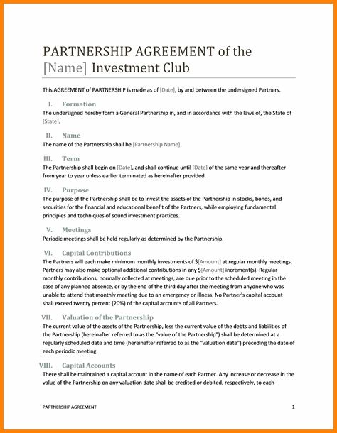7+ business partnership agreement template | memo templates