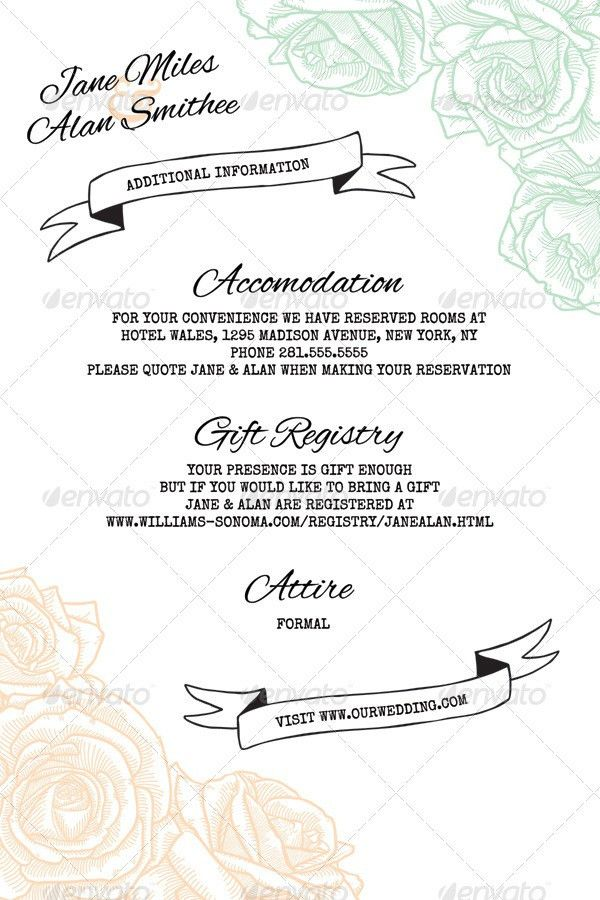 Elegant Rustic Floral Wedding Information Card Clean, simple ...