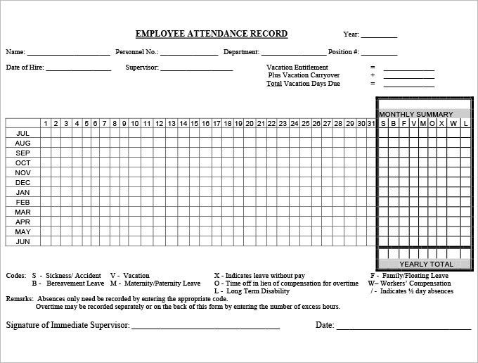 5+ Time and Attendance Forms | HR Templates | Free & Premium ...