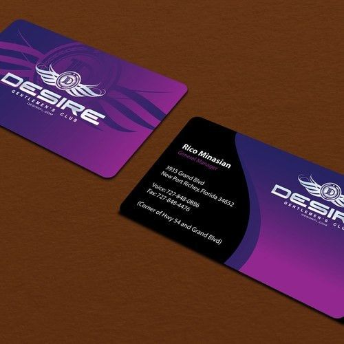 business card for Desire Gentlemen's Club | Business card contest