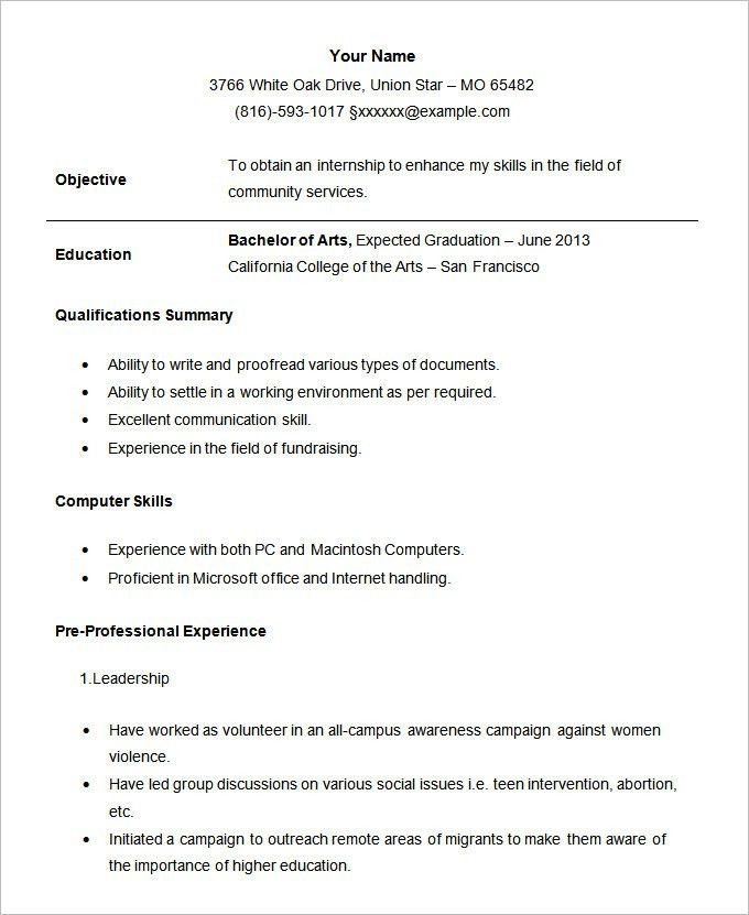 Download Resume Student | haadyaooverbayresort.com