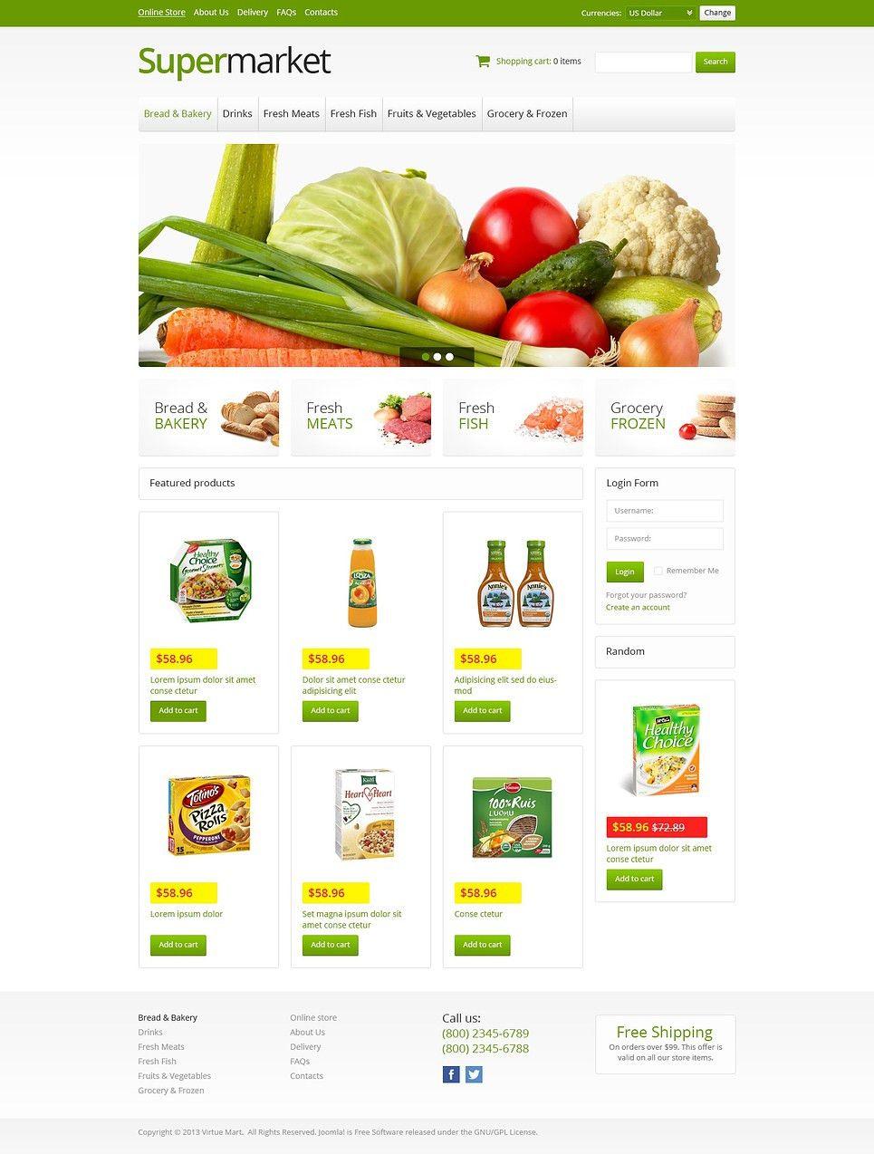 Online Supermarket VirtueMart Template #45942