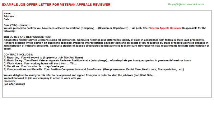 Veteran Appeals Reviewer Offer Letter
