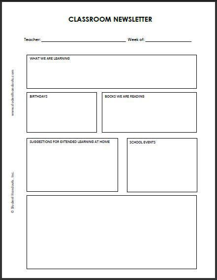 Blank Classroom Newsletter for Teachers and Students | Teaching ...