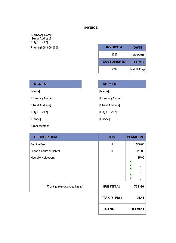 Billing Invoice Template – 6+ Free Printable Word, Excel, PDF ...