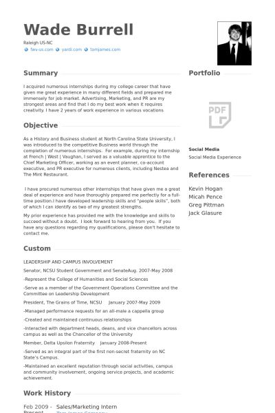 Marketing Intern Resume samples - VisualCV resume samples database