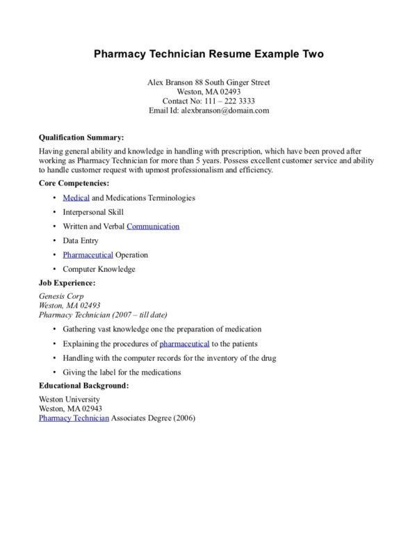 Printable Resume Example for Pharmacy Technician Job Position ...