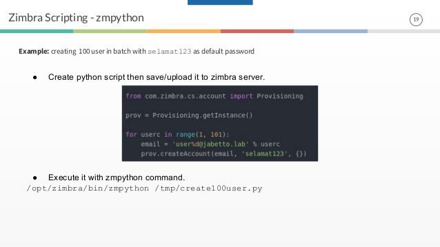 Zimbra scripting with python