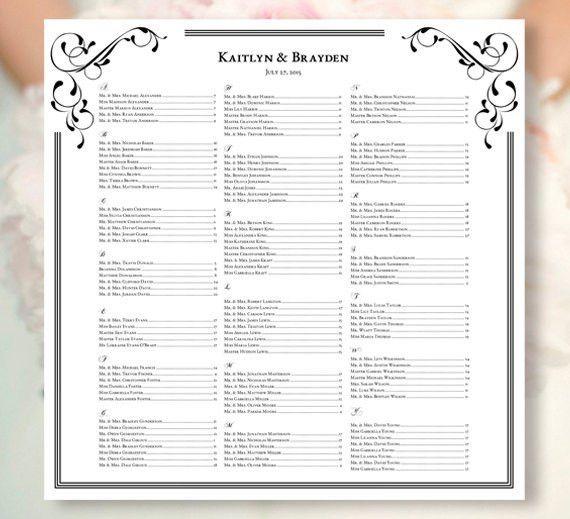 "Wedding Seating Chart ""Elegance"" Black & White Template Printable ..."
