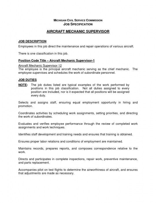 Stylish Mechanic Job Description Resume | Resume Format Web