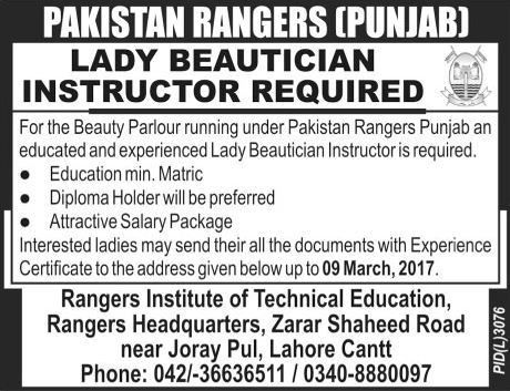 Pakistan Rangers (Punjab) Jobs 2017 Available for Lady Beautician ...