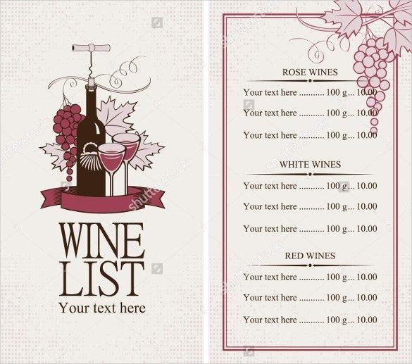 20+ Wine Menu Templates – Free Sample, Example Format Download ...