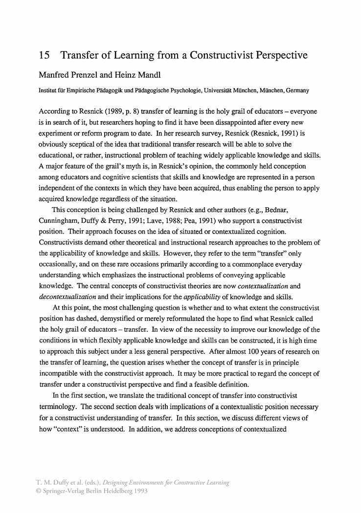 Transfer of Learning from a Constructivist Perspective - Springer