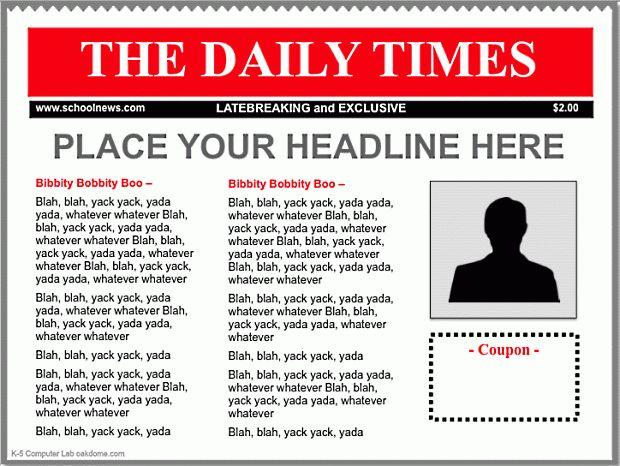 iPad Keynote Newspaper Templates | K-5 Computer Lab