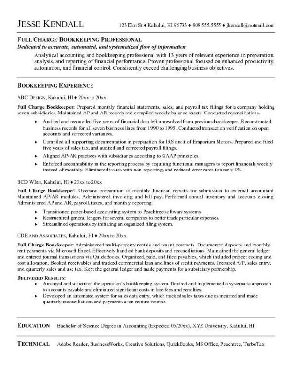 Professional Full Charge Bookkeeper Resume Sample Featuring ...