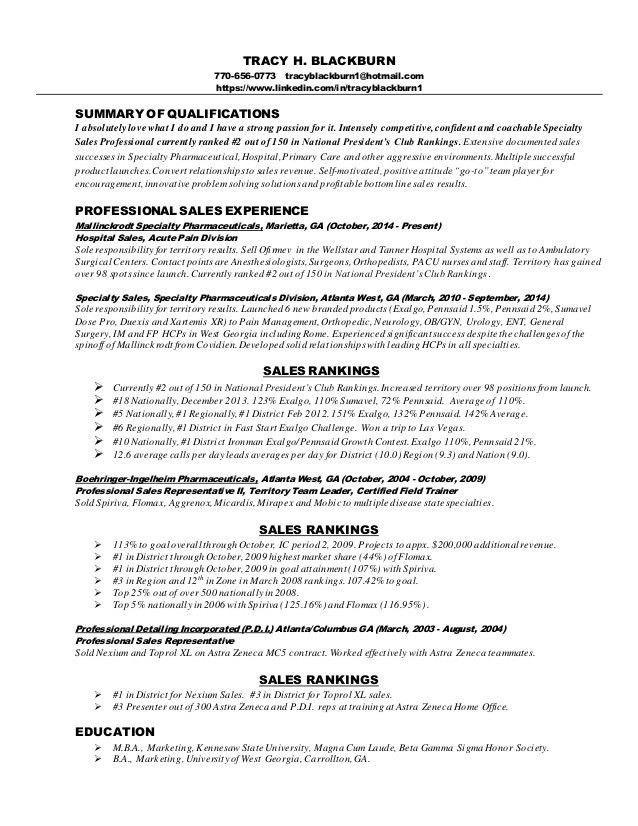 Sales representative pharmaceuticals resume